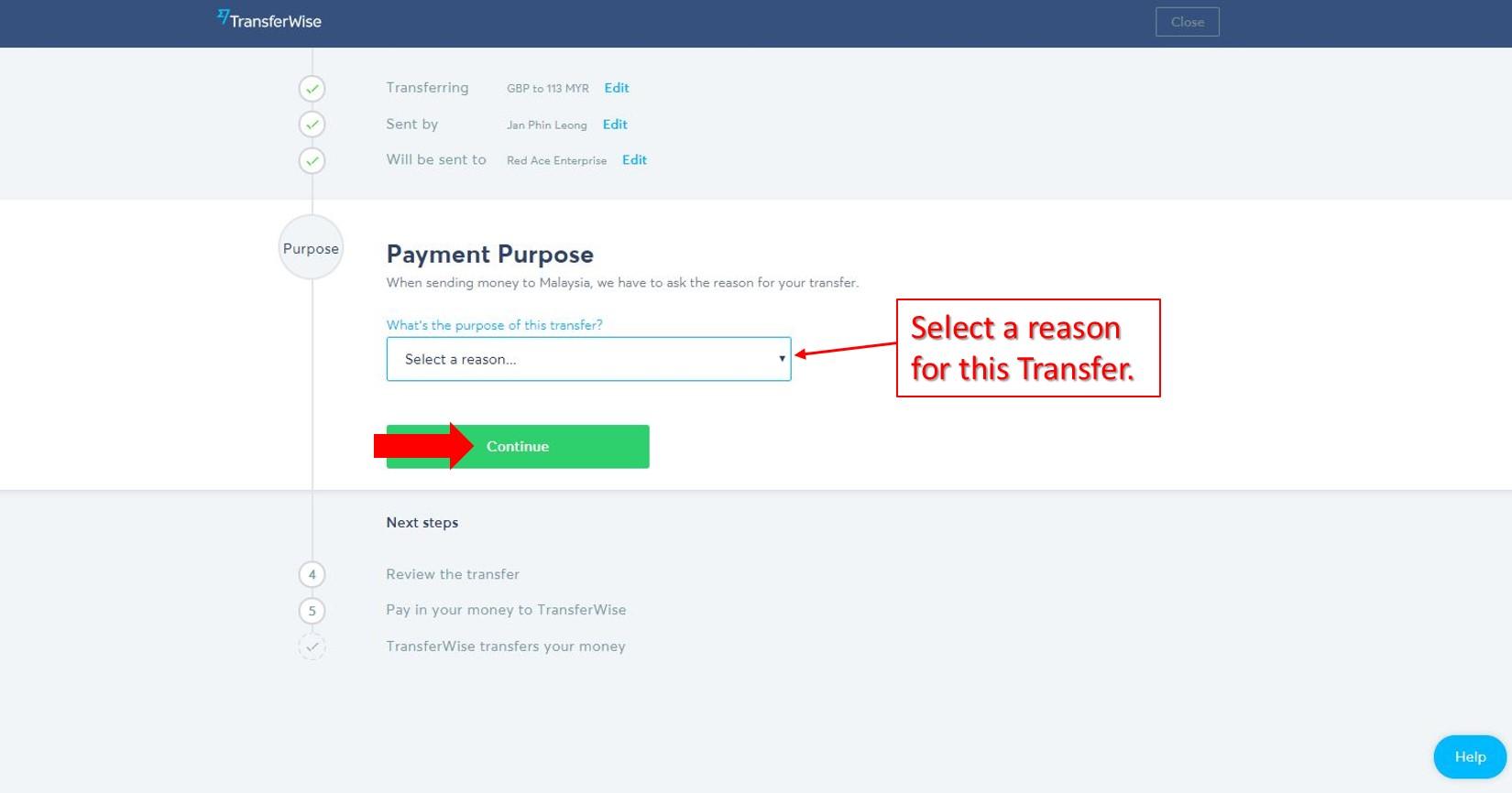 Transferwise Step by step 8